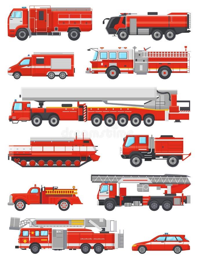 Vector brandbestrijdings de noodsituatievoertuig van de brandmotor of rode firetruck met firehose en de reeks van de ladderillust stock illustratie
