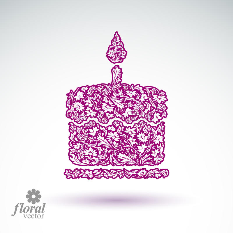 Vector brandende kaars, bloem-gevormde illustratie van tw royalty-vrije illustratie