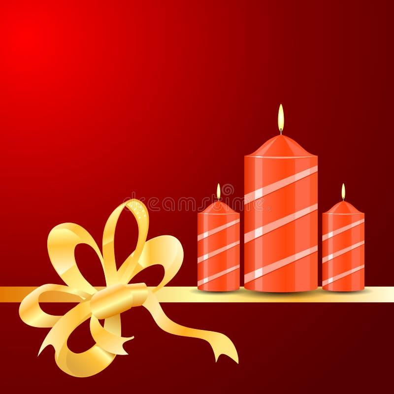 Vector brandende Kaarsen van lint op de rode achtergrond vector illustratie