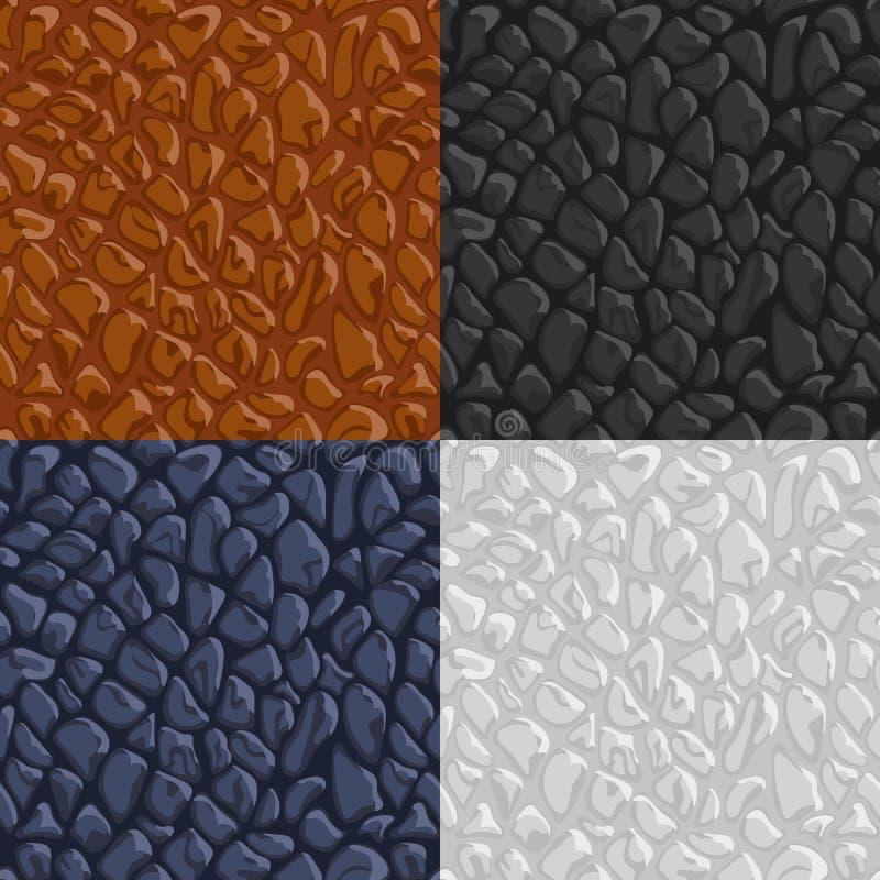 Vector braune, blaue, weiße, schwarze lederne Beschaffenheit, nahtloses patte vektor abbildung