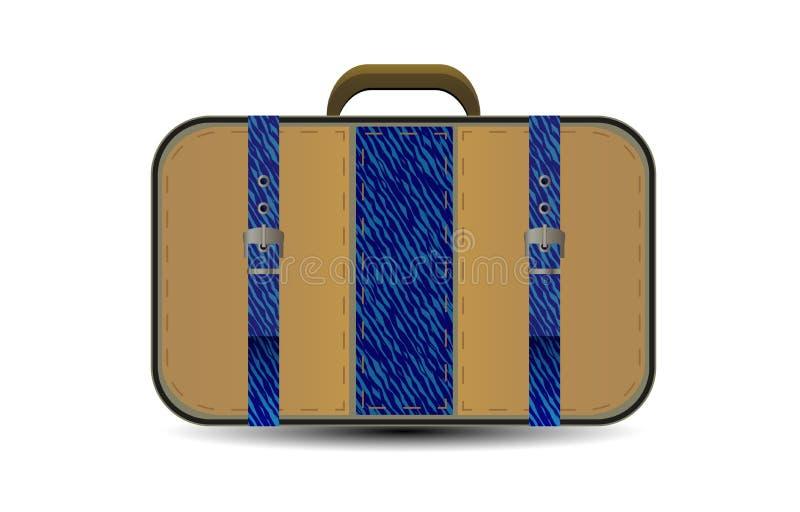 Vector braune Reisetasche mit großer blauer Denimeinfügung vektor abbildung