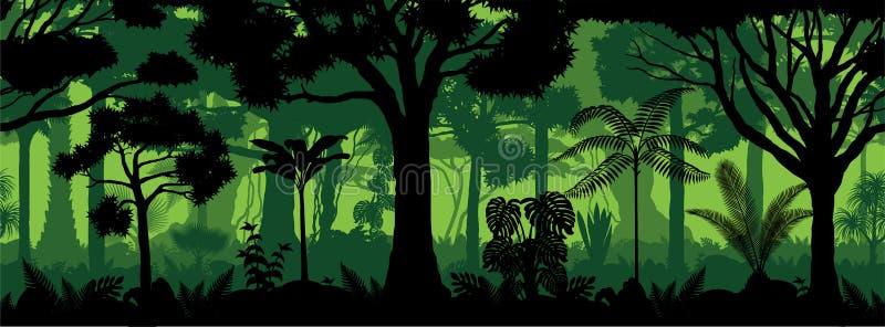 Vector brazil jungle horizontal seamless tropical rainforest Jungle forest background. Illustration royalty free illustration
