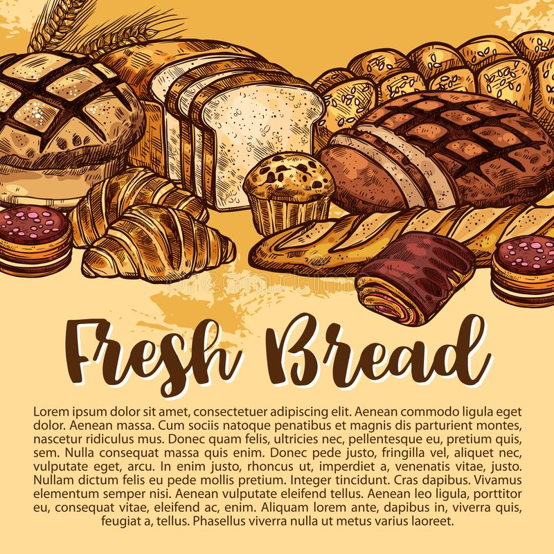 Vector bread sketch poster for bakery shop. Bakery shop sketch poster of bread and baked pastry desserts. Vector design template of wheat loaf and rye bagel or stock illustration