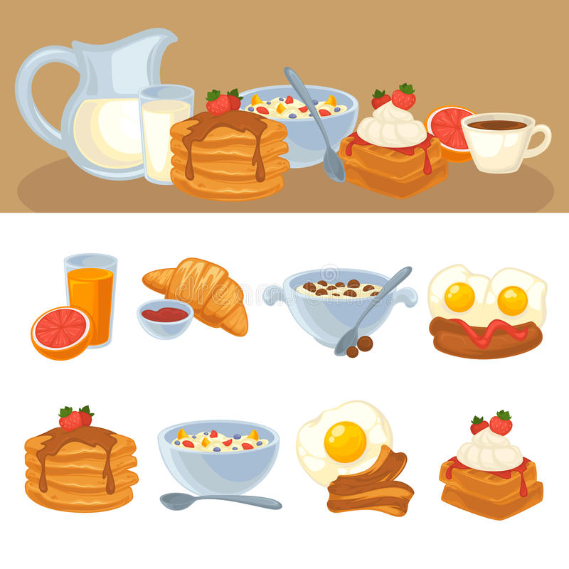 Vector breakfast food set. Icons of healthy food orange juice, eggs and bacon, croissant, pancakes, cereal and waffles. Cartoon illustration isolated on white vector illustration