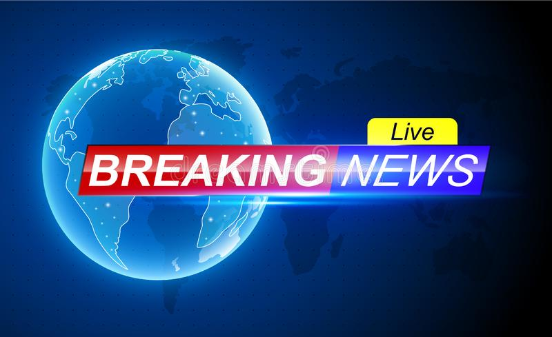 Breaking News Live Background On World Map  Vector  Stock