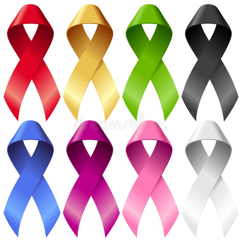 Free Vector Breast Ribbons Set Isolated On White Stock Photography - 27182632