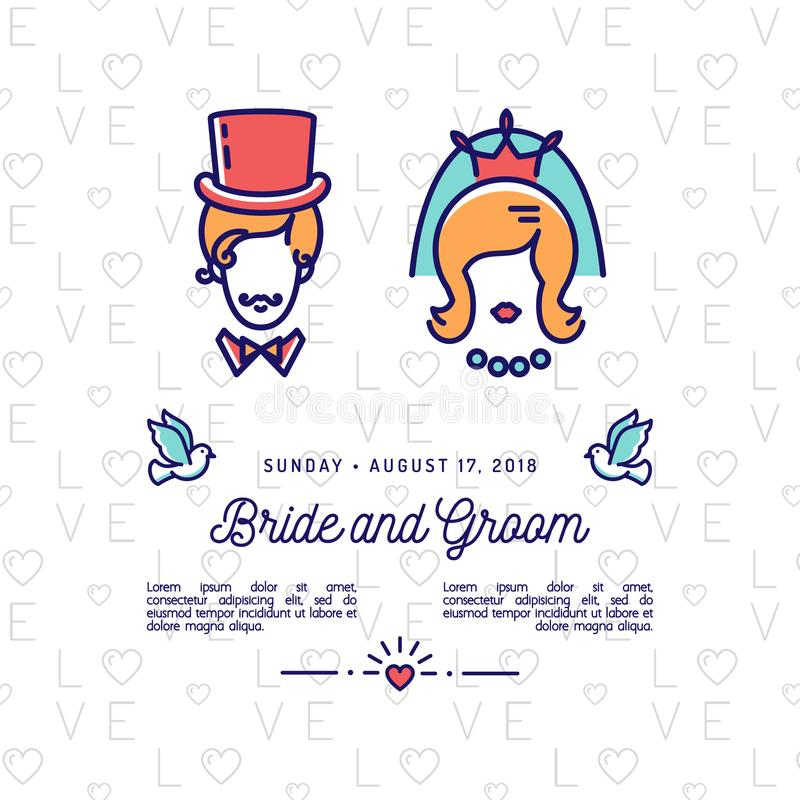 Bride and groom icons wedding invitation retro save the date card download bride and groom icons wedding invitation retro save the date card vector stopboris Images