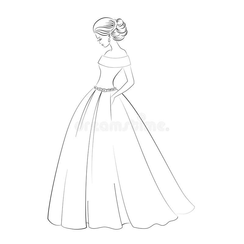 Vector Bride Model Contour Outline Illustration Of Pretty Young ...