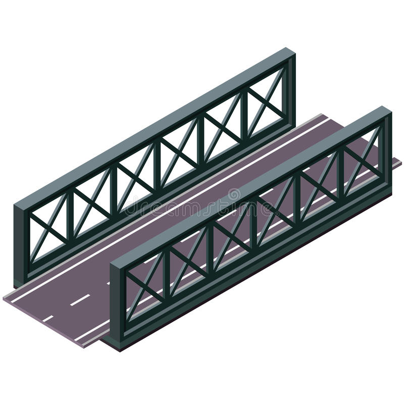 Vector bridge in isometric 3d perspective on white background, with asphalt road. stock illustration