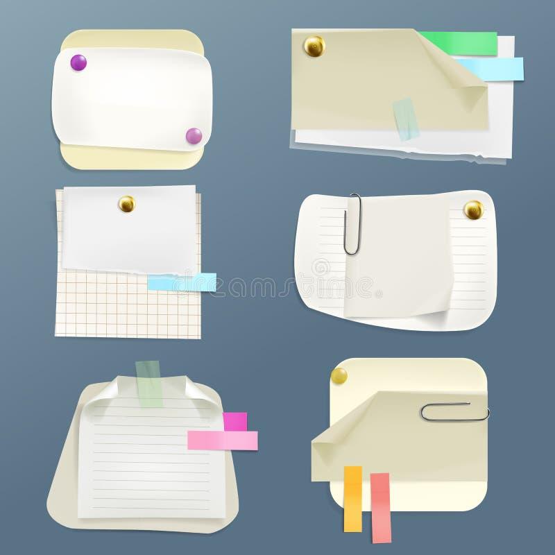 Vector Briefpapiere, Blätter mit Stiften, Klipp stock abbildung