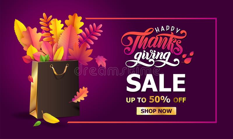 Vector bright bouquet of autumn fallen leaves in golden gift paper shopping bag in frame. Thanksgiving sale Up to 50 off royalty free illustration