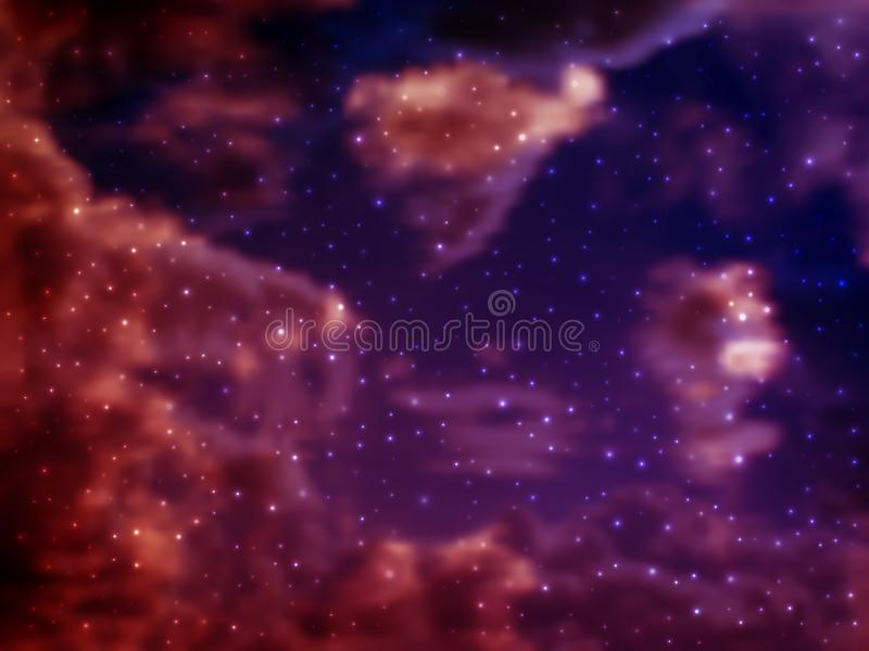 Vector bright colorful cosmos illustration with stars in the foreground. Bright shining Universe with flickering stars. Novel, mysterious deep space. Abstract royalty free illustration