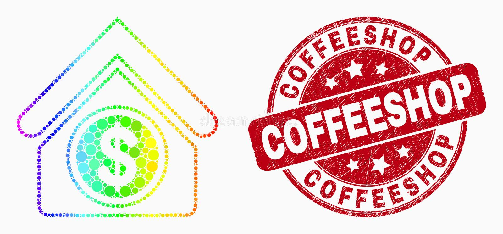 Vector Bright Dot Commercial Building Icon and Scratched Coffeeshop Watermark. Dot bright spectral commercial building mosaic pictogram and Coffeeshop seal stamp stock illustration