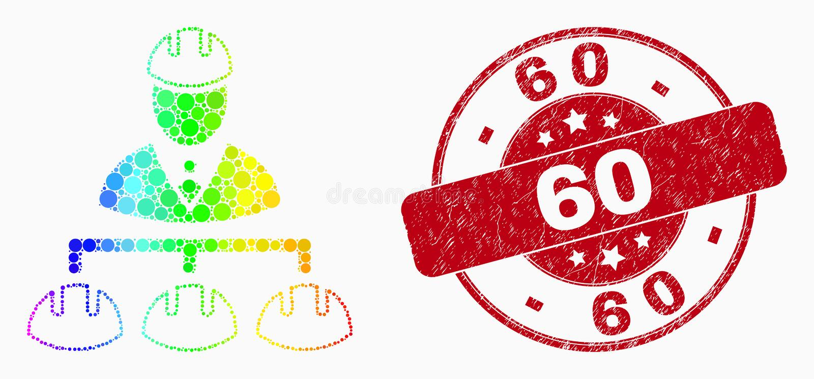 Vector Bright Dotted Engineer Hierarchy Icon and Distress 60 Watermark stock illustration