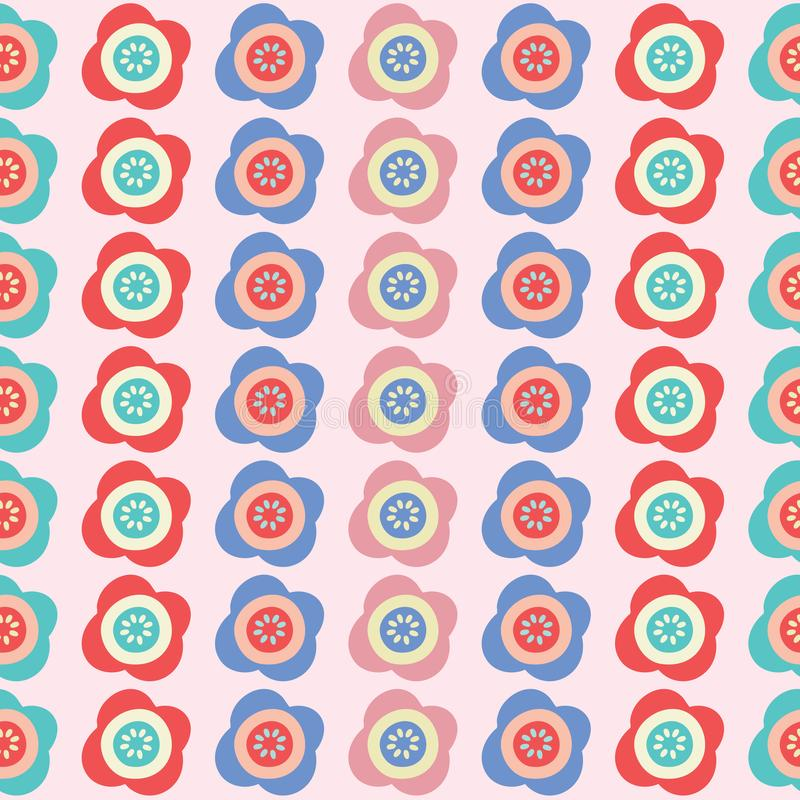 Vector bright flowers stripe seamless repeat pattern background. royalty free illustration