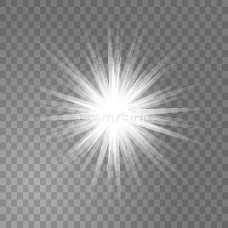 Vector bright glowing light sun burst on transparent background vector illustration