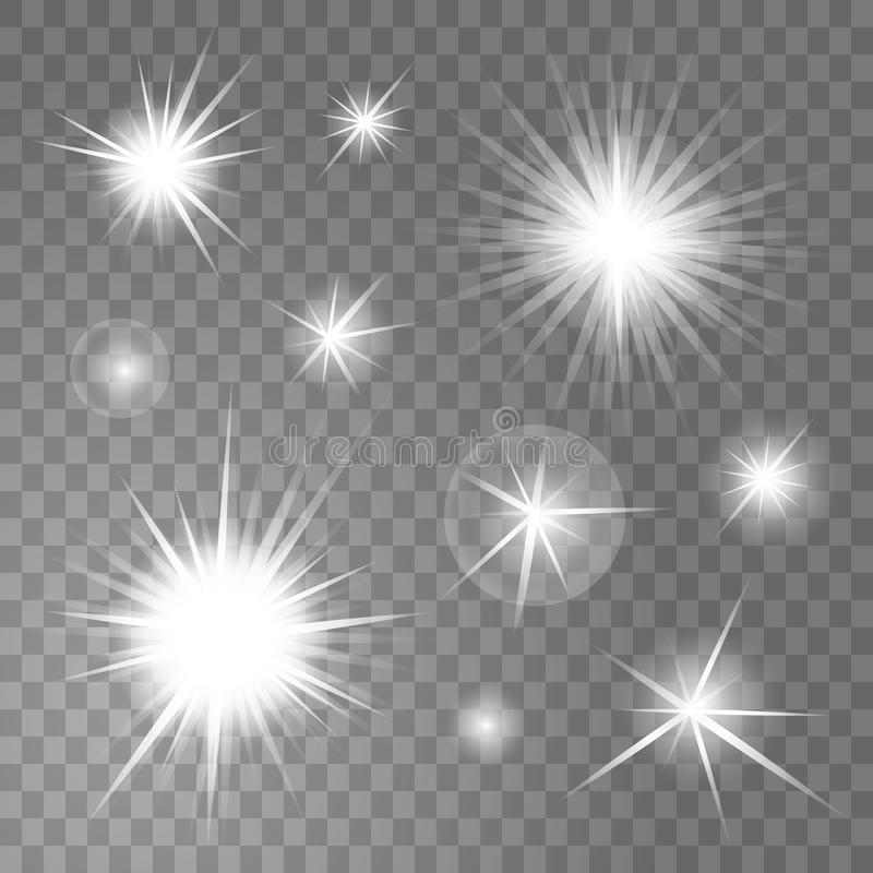 Vector bright glowing light suns and stars burst on transparent background set vector illustration