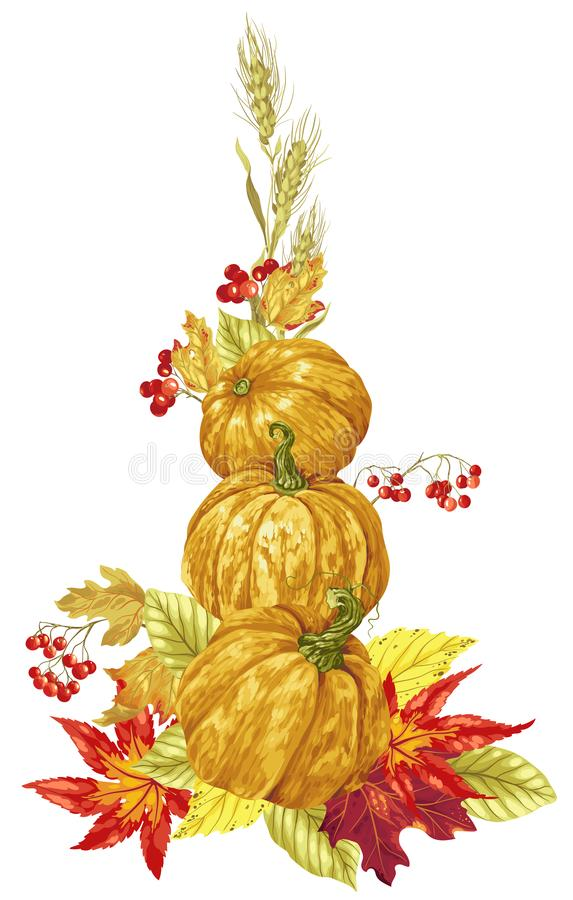 Vector bright harvest season autumn decorative element. For posters royalty free stock images