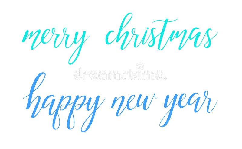 Vector Bright Merry Christmas Happy New Year brush lettering text on white background royalty free illustration