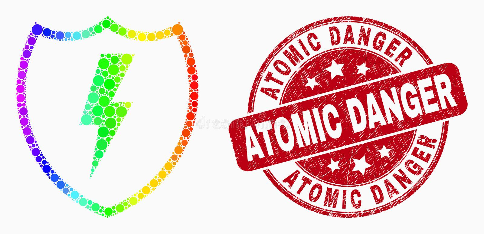 Vector Bright Pixel Electric Shield Icon and Grunge Atomic Danger Stamp Seal vector illustration