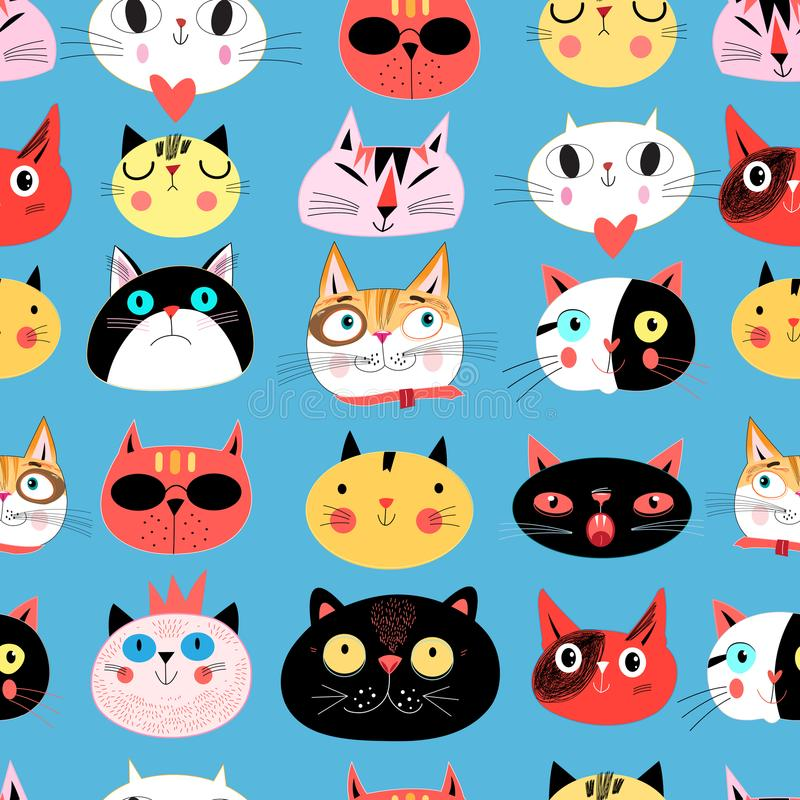 Vector bright seamless pattern of multi-colored cat portraits royalty free illustration