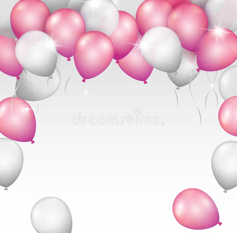 Vector bright shiny pink and silver balloon frame with space for your text on white background vector illustration