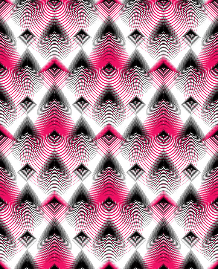 Vector bright stripy endless overlay pattern, art continuous geo. Metric background with graphic lines royalty free illustration
