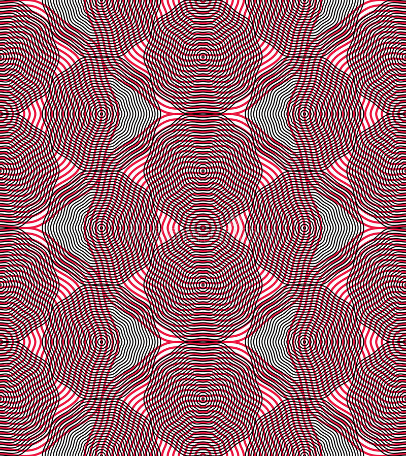 Vector bright stripy endless overlay pattern, art continuous geo. Metric background with graphic lines stock illustration