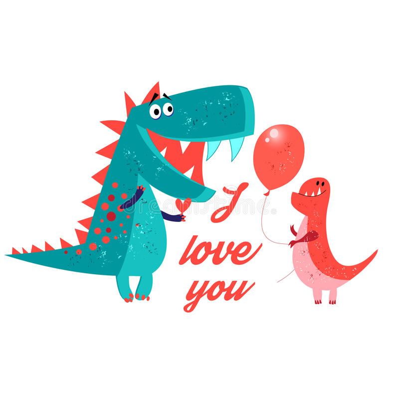 Vector brightly amorous dinosaur enamored. On a white background vector illustration