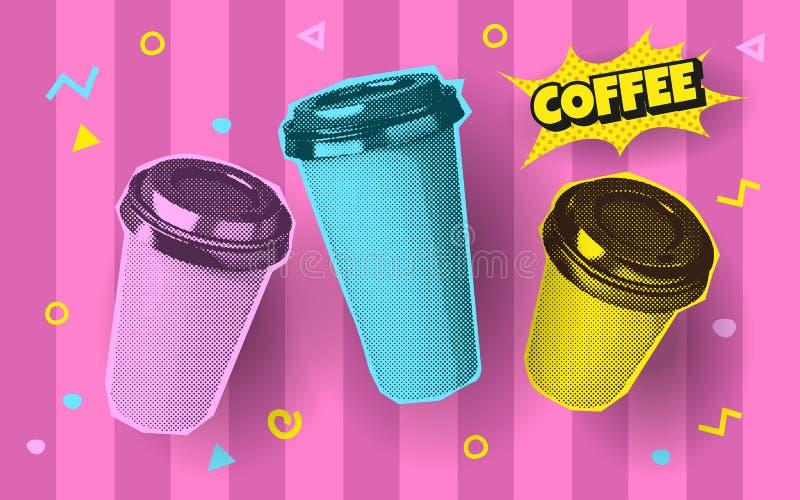 vector brightness zine illustration, coffee papercup royalty free stock image