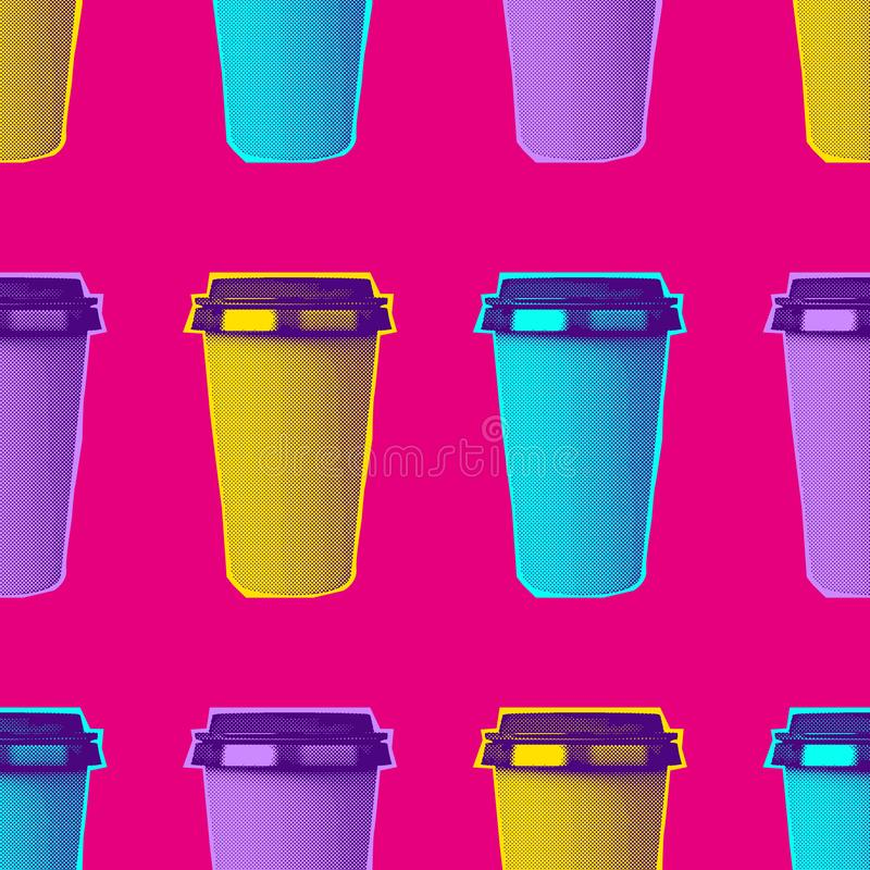 Vector brightness zine texture, coffee paper cup royalty free stock photos