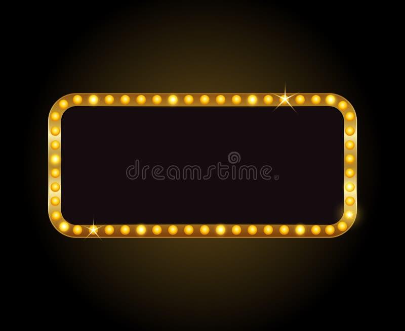 Vector brilhantemente o sinal de néon de incandescência do cinema retro do teatro ilustração stock