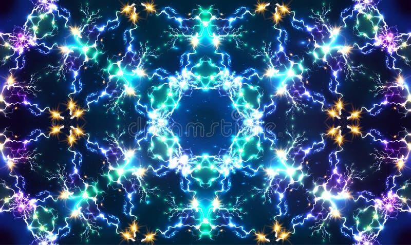 Vector brillante abstracto del fractal eléctrico stock de ilustración
