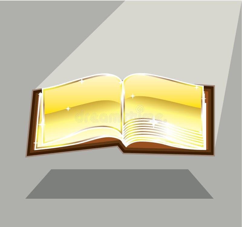 Vector brillante brillante ligero mágico de la biblia de oro del libro stock de ilustración