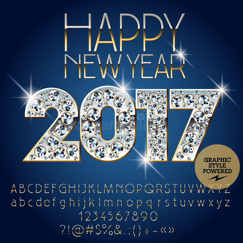 Download Vector Brilliant Happy New Year 2017 Greeting Card Stock