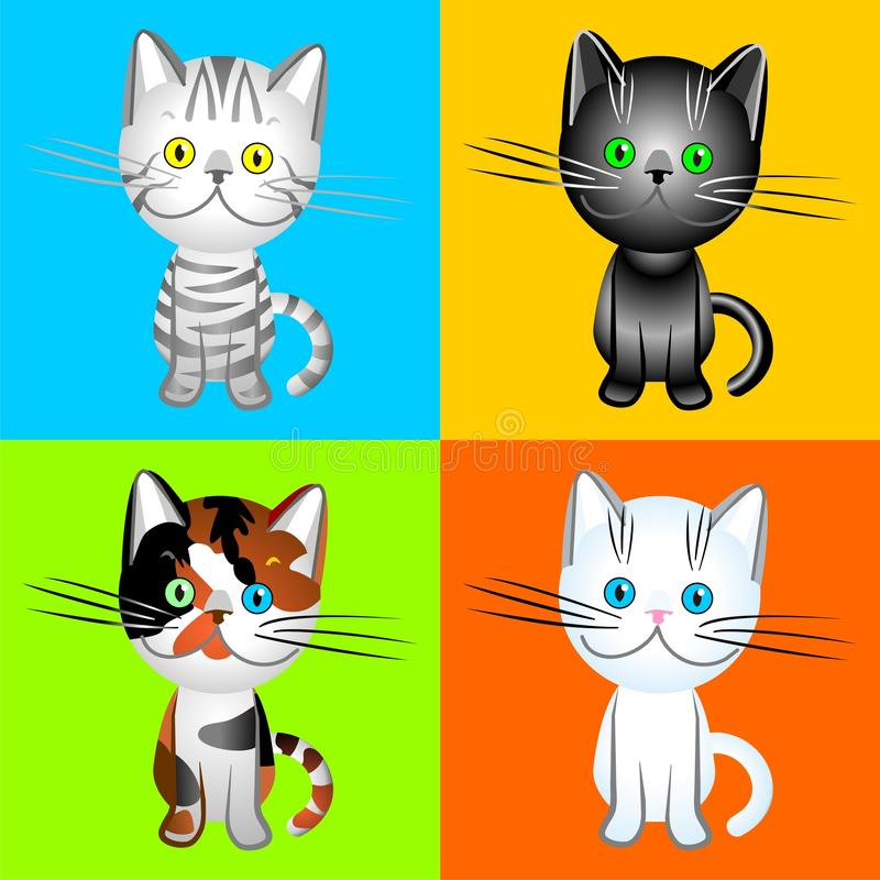 vector British cats of various colors stock photos