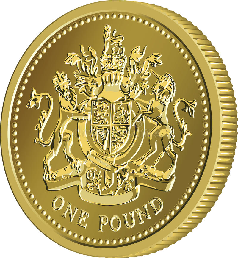 Vector British money gold coin one pound with the coat of arms royalty free stock photo