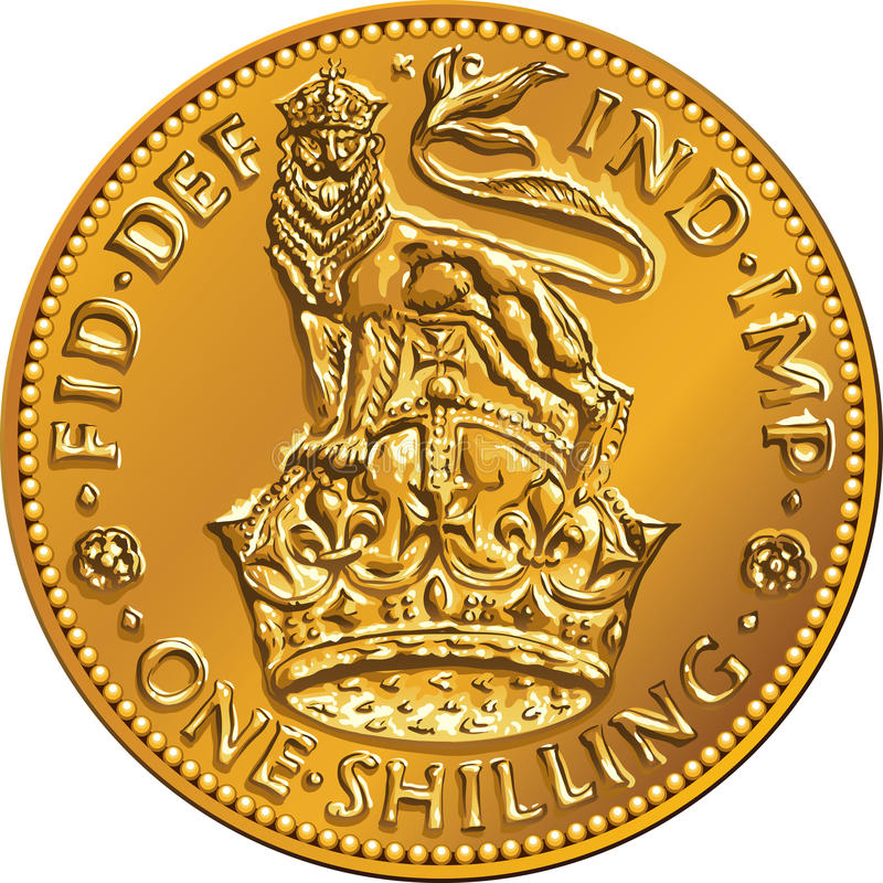 Vector British money gold coin shilling with lion royalty free stock image