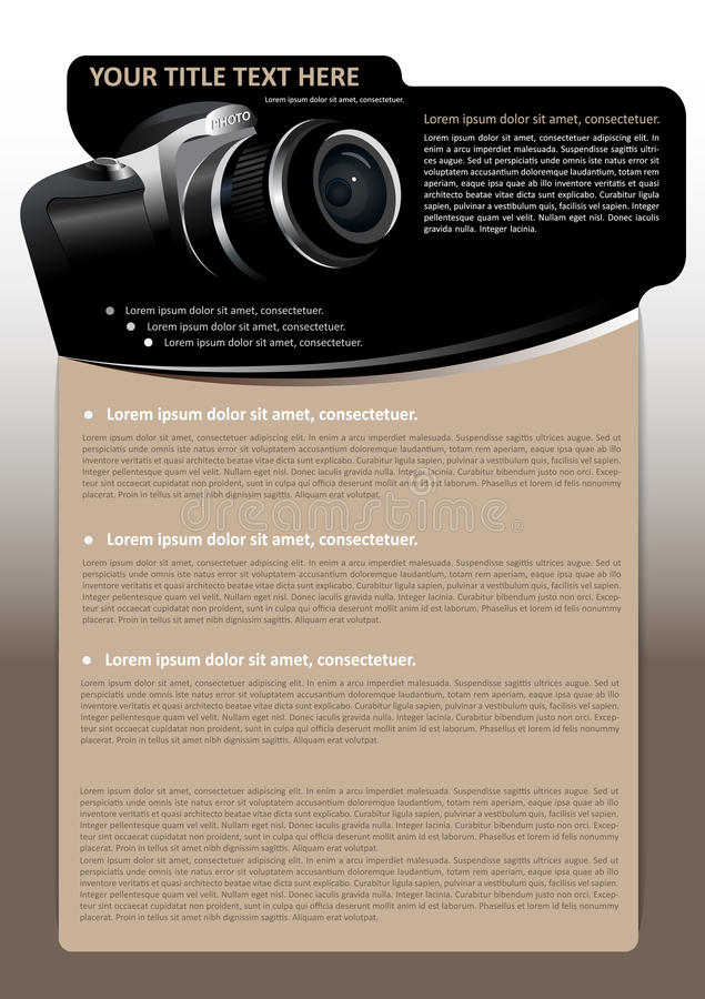 Download Vector Brochure Background With Digital Camera Royalty Free Stock Image - Image: 26592326