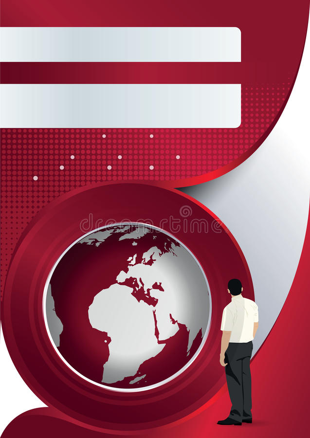 Vector brochure background with globe and man. Vector red brochure background with globe and manager stock illustration