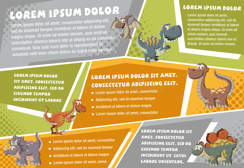 Vector brochure backgrounds with cartoon dinosaurs. royalty free illustration