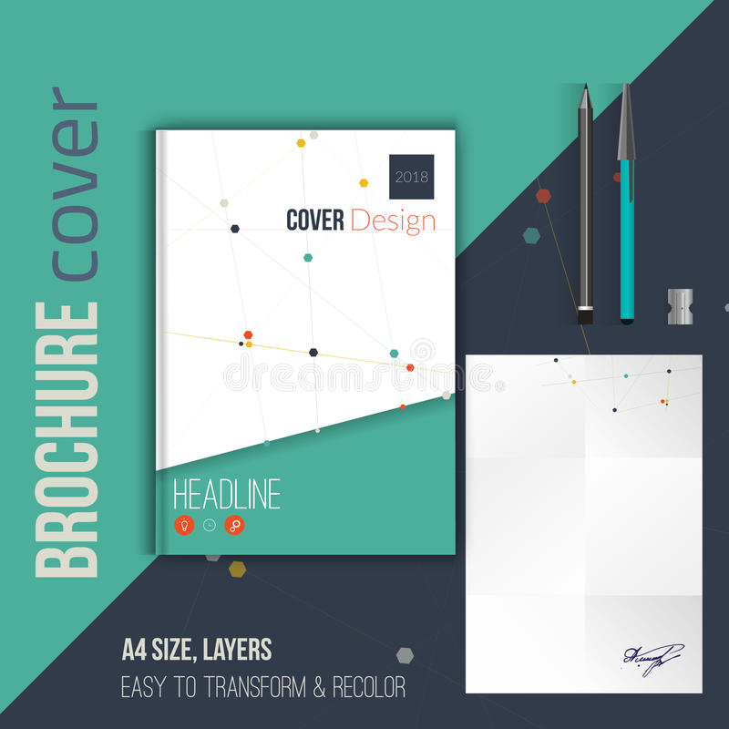 Vector brochure cover design template with abstract geometric triangular connection background for your business, flyer vector illustration