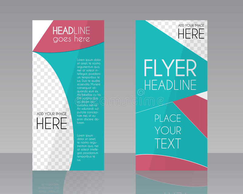 Vector Brochure Flyer design Layout template. Blue royalty free illustration
