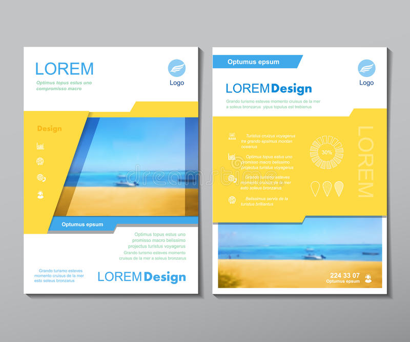 Vector brochure flyer design layout template in A4 size, traver magazine book cover or annual report. Design royalty free illustration
