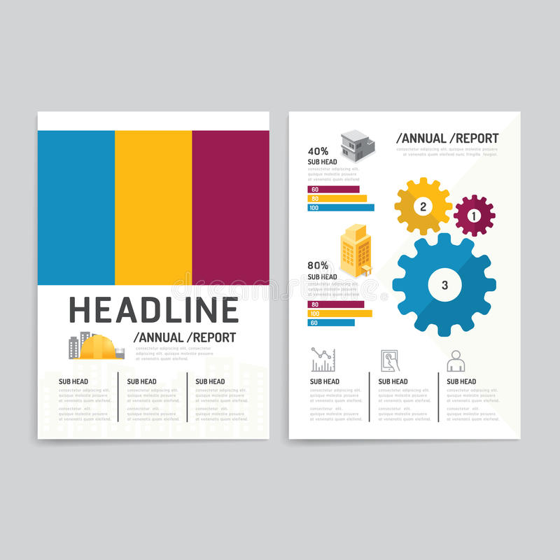 Vector brochure, flyer, magazine cover booklet poster design template.layout building business annual report set of corporate ide royalty free illustration