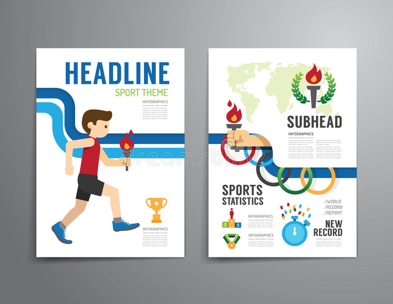 Vector brochure, flyer, magazine cover booklet poster design template.layout sport annual report A4 size. rio olympics .Brazil stock illustration