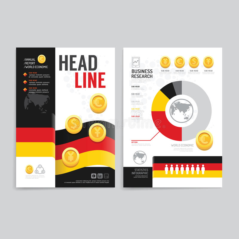 Vector brochure, flyer, magazine cover booklet poster design template.layout world business economic annual report set of corpora stock illustration