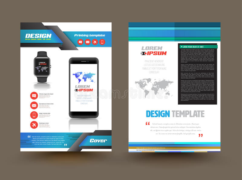 Vector Brochure Template Design For Technology Product. Stock