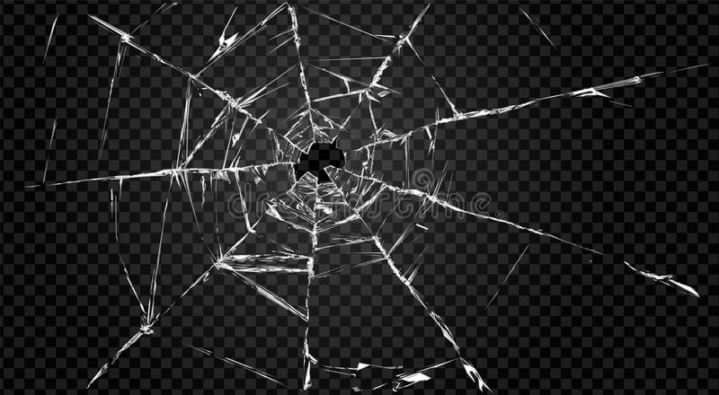 Broken transparent glass with hole in it. vector illustration