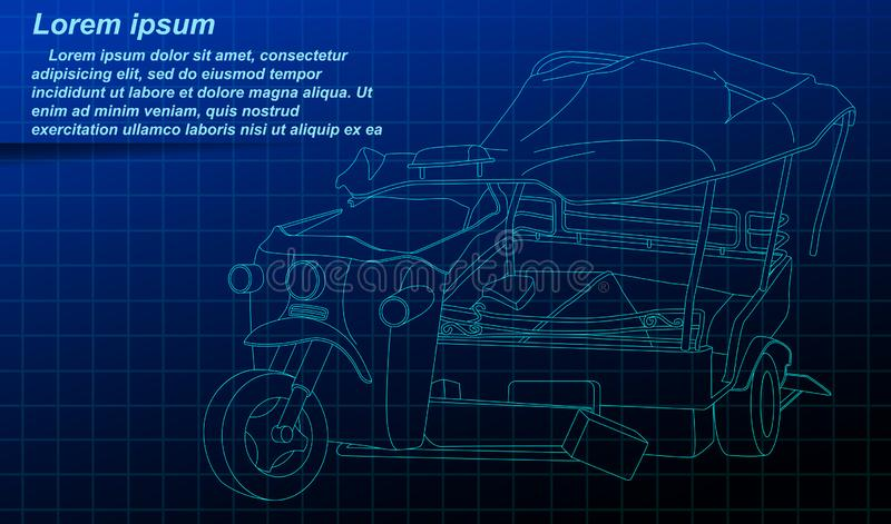 Broken tricycle outline on blue background. vector illustration